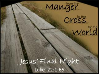 Jesus' Final Night Luke   22:1-65