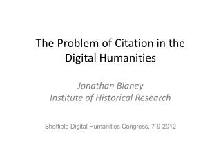Sheffield Digital Humanities Congress, 7-9-2012