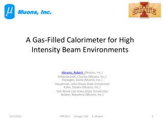 A Gas-Filled Calorimeter for High Intensity Beam Environments