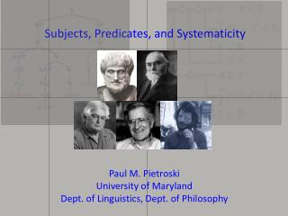 Subjects, Predicates, and  Systematicity