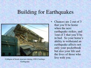 Building for Earthquakes
