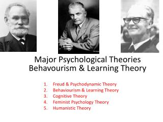 Major Psychological Theories Behavourism  & Learning Theory
