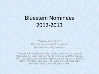 Bluestem Nominees  2012-2013
