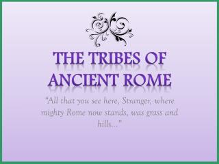 The Tribes of Ancient Rome