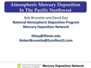 Atmospheric Mercury Deposition           In The Pacific Northwest