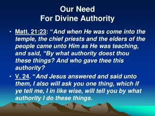 Our Need  For Divine Authority