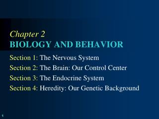 Chapter  2 BIOLOGY AND BEHAVIOR