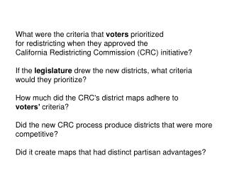 What were the criteria that  voters prioritized for  redistricting when they approved the