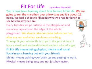 Fit For Life     by  Medeea Plesea  5GC