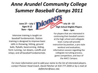 Anne Arundel Community College Summer Baseball Camps 2011