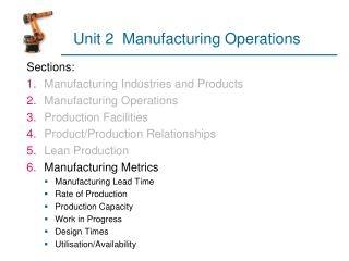Unit 2  Manufacturing Operations
