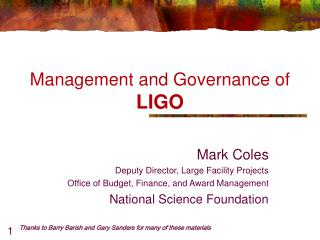 Management and Governance of LIGO