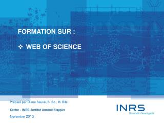 FORMATION SUR : WEB OF SCIENCE