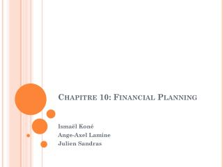 Chapitre 10: Financial Planning