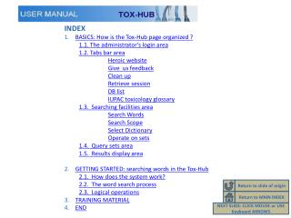 INDEX BASICS:  How is the Tox-Hub  page  organized  ? 1.1.  The administrator's login area