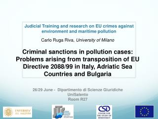 Judicial Training and research on EU crimes against environment and maritime  pollution