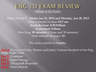 ENG 1D Exam Review