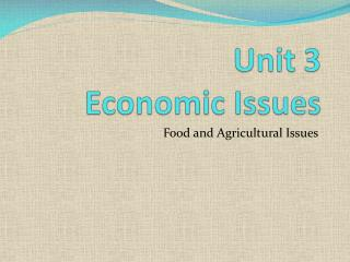 Unit 3  Economic Issues