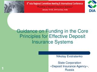 Guidance on  F unding in the Core Principles for Effective Deposit Insurance Systems