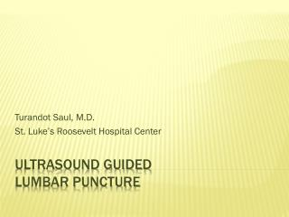 Ultrasound Guided  Lumbar Puncture