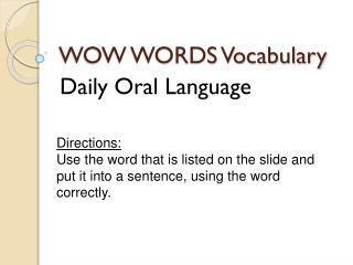WOW WORDS Vocabulary