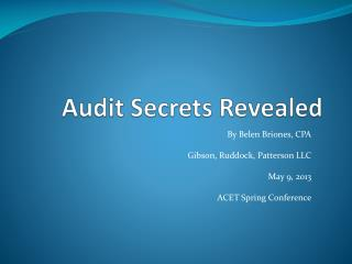 Audit Secrets Revealed