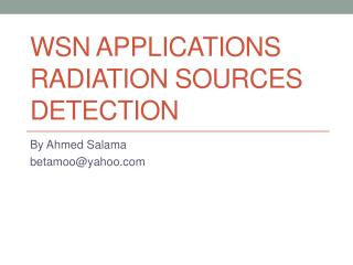 WSN Applications Radiation Sources Detection