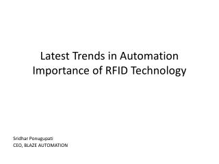 Latest Trends in Automation  Importance of RFID Technology