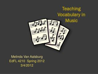 Teaching Vocabulary in Music