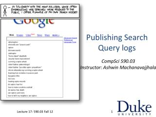 Publishing Search Query logs