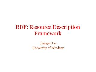 RDF: Resource Description Framework