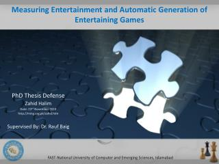 Measuring Entertainment and Automatic Generation of Entertaining Games