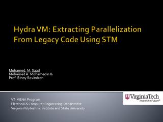 Hydra VM: Extracting Parallelization From Legacy Code Using STM