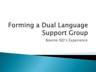 Forming a Dual Language Support Group