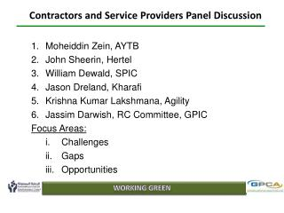 Contractors and Service Providers Panel Discussion