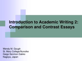 Introduction to Academic Writing 2: Comparison and Contrast Essays