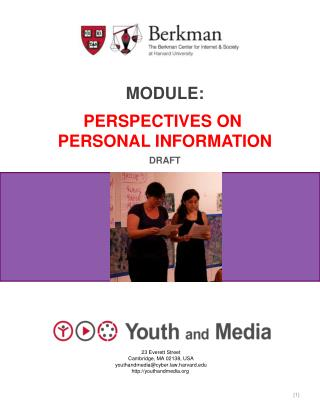 Module: Perspectives on  Personal information Draft