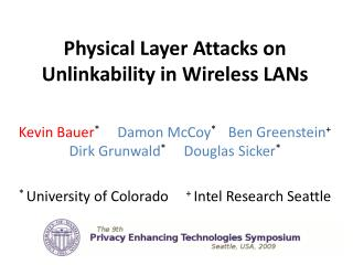 Physical Layer Attacks on Unlinkability in Wireless LANs