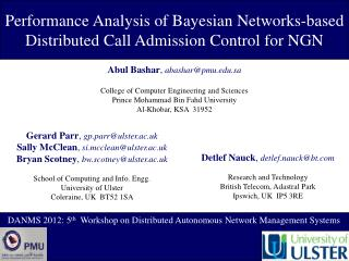 Performance Analysis of Bayesian Networks-based Distributed Call Admission Control for NGN