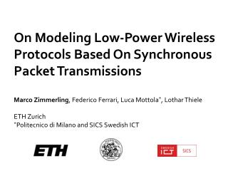 On Modeling Low-Power Wireless Protocols Based On Synchronous Packet Transmissions