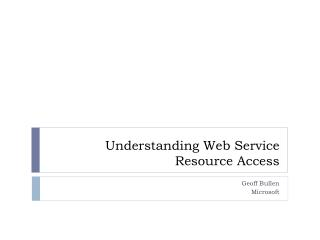 Understanding Web Service Resource Access