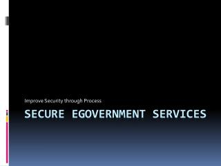 Secure eGovernment Services