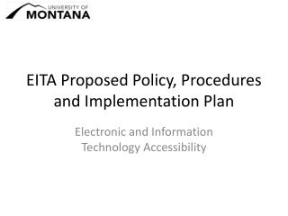 EITA Proposed Policy, Procedures and Implementation Plan