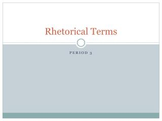 Rhetorical Terms