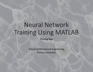 Neural Network Training Using MATLAB
