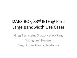 I2AEX BOF, 83 rd  IETF @ Paris Large Bandwidth Use Cases