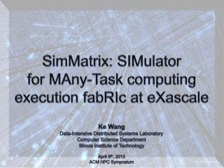 SimMatrix:  SIMulator for  MAny -Task computing  execution  fabRIc  at  eXascale