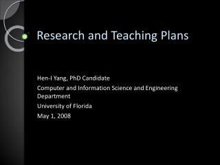 Research and Teaching Plans