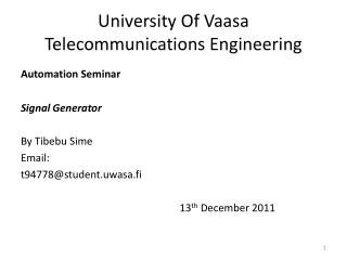 University Of Vaasa Telecommunications Engineering