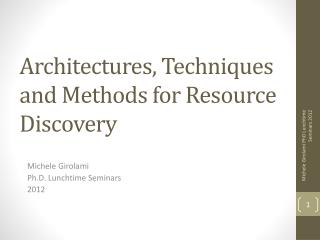 Architectures, Techniques and Methods for Resource Discovery